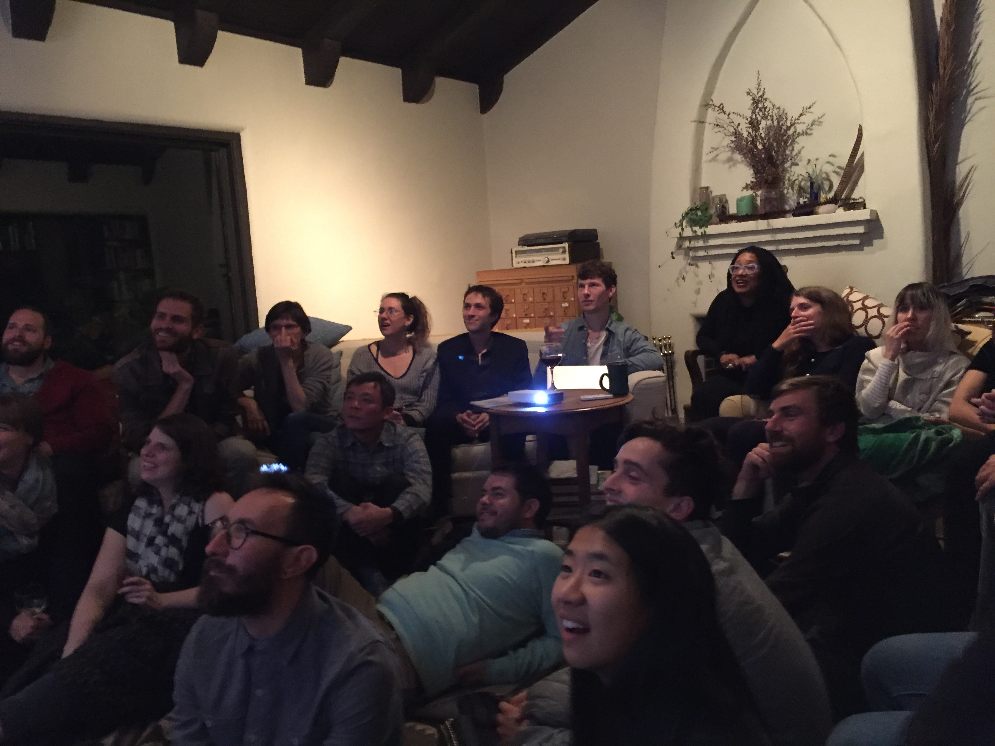 Writer and artist Joe Veix presentation, Rose Linke's living room, Oakland, 11/17/15. Photo Credit: Liat Berdugo